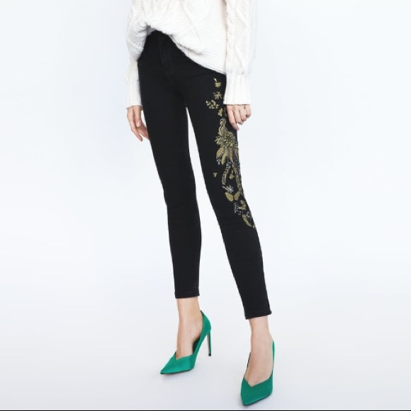 b74ff371 Zara black high waist embroidered skinny jeans NWT